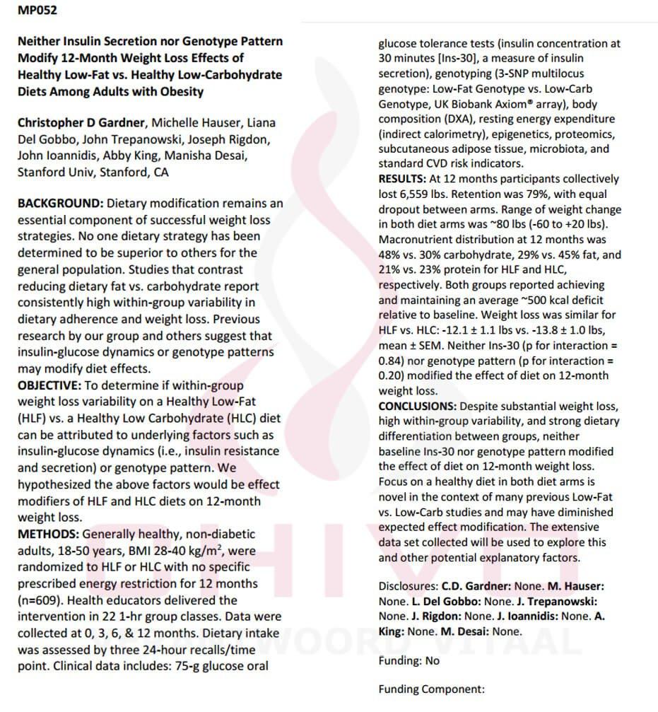 De abstract van het DietsFits onderzoek van Chris Gardner